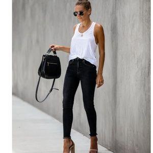 ARJA Black Raw Hem Skinny Jeans